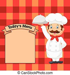 Cartoon Chef Serving Food - Vector illustration of Cartoon...