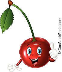 Cartoon cherry giving thumbs up
