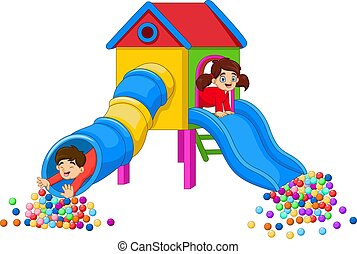 Cartoon Children Having fun in the Playground