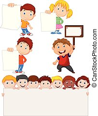 Cartoon children holding blank sign