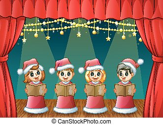 Cartoon children in red Santa costume singing Christmas...