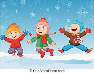 Cartoon children jumping together i