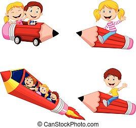 Cartoon children riding pencil toys collection set