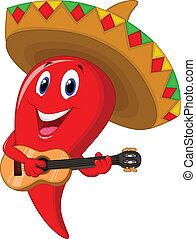 Vector illustration of Cartoon Chili pepper mariachi wearing sombrero playing a guitar