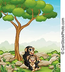 Cartoon chimpanzee mother hug her baby chimp in the jungle