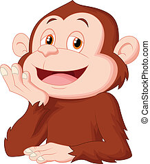 Cartoon chimpanzee thinking - vector illustration of Cartoon...