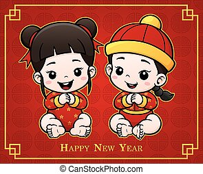 Baby - Vector Illustration of Cartoon Chinese Kids. Cute...