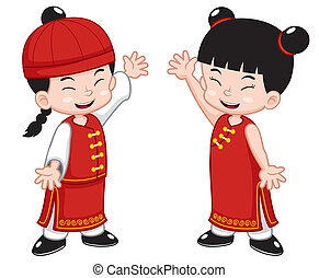 Chinese Kids - Vector illustration of Cartoon Chinese Kids