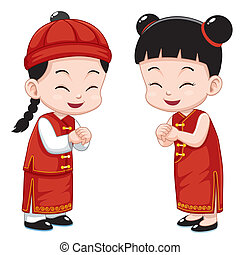 Chinese Kids - Vector illustration of Cartoon Chinese Kids