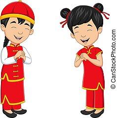 Cartoon chinese kids wearing traditional chinese costume