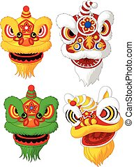 Cartoon Chinese lion head collectio