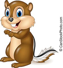 Cartoon chipmunk sitting - Vector illustration of Cartoon...