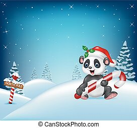 Cartoon Christmas background with panda holding candy