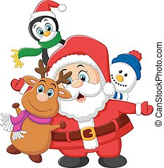 vector illustration of cartoon christmas doll collections