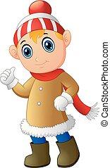 Cartoon Christmas Elf giving thumbs up
