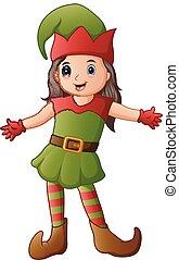 Cartoon Christmas elf presenting