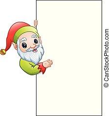 Cartoon Christmas elf showing a blank sign