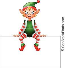 Cartoon Christmas elf sitting on blank sign