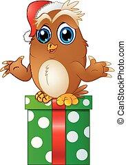 Cartoon Christmas Owls and gift