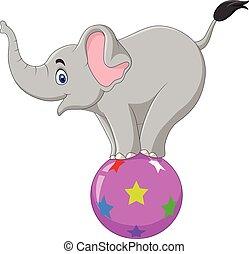 Cartoon circus elephant standing on a ball