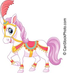 Cartoon circus horse isolated