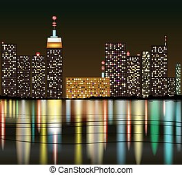 Cartoon City at night with reflecti