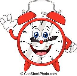 Cartoon clock waving hand - Vector illustration of Cartoon...