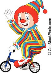 Vector illustration of Cartoon clown riding bicycle