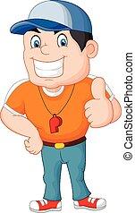 Cartoon coach giving a thumbs up