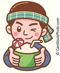 Coconut - Vector illustration of Cartoon Coconut seller...