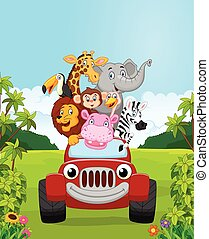 Cartoon collection animal vacation