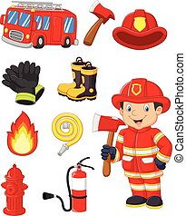 Cartoon collection fire equipmen