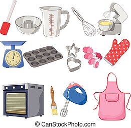 Cartoon collection for the baking - Vector illustration of ...