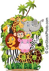 Cartoon collection happy animal zoo