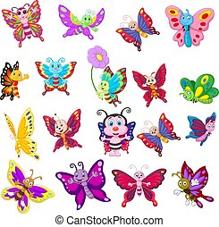 Cartoon collection of butterfly on white background