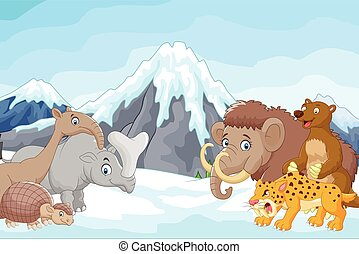 Vector illustration of Cartoon Collection of ice age animals on mou