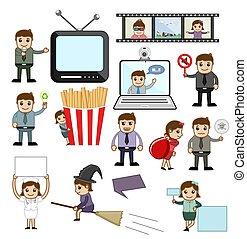 Vector Illustration of Cartoon Concepts Set