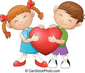 Cartoon couple in love holding heart