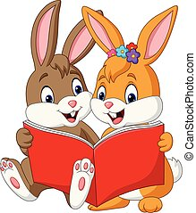 Cartoon couple of rabbits reading a book
