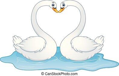 Cartoon couple swans lover kissing