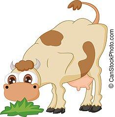 Cartoon cow eating grass