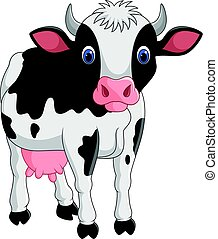 Cartoon cow isolated on white background - Vector...