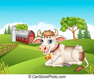 Cartoon cow sitting in the farm