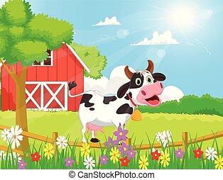 cartoon Cow with farm scenery