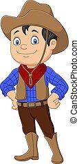 Cartoon cowboy kid wearing western costume