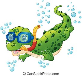 Cartoon crocodile diver