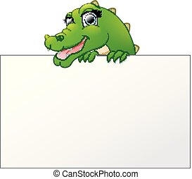 Cartoon Crocodile holding and looking over a blank sign board