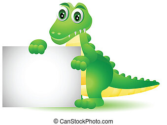 cartoon crocodile with blank sign