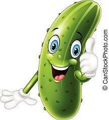 Cartoon cucumber giving thumbs up