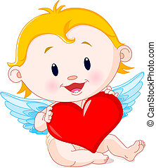 Cupid Angel - Vector illustration of Cartoon Cupid Angel...